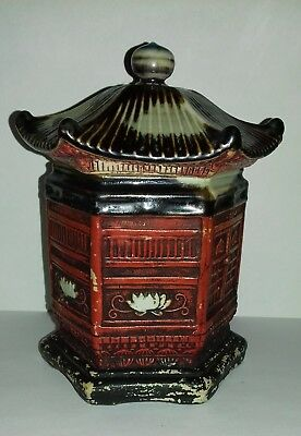 Antique Sumida Gawa Signed Tobacco Jar Hexagonal Pagoda Lotus Flowers Excellent