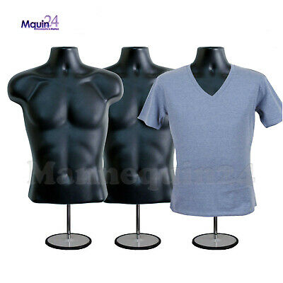 3 Pack Male Torso Mannequins - 3 Black Men Forms + 3 Stands + 3 Hangers