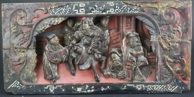 Old Chinese Deep Relief Carved and Lacquered Figural Panel with MOP Inlay NR WSC