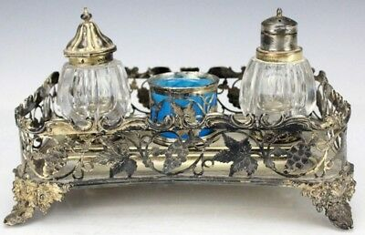 Antique Victorian Silver Plate Pierced Gallery Desk Set Sander Inkwell Tray BFL