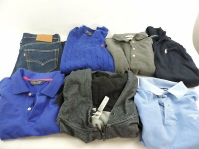 Job Lot x 7 Men's Polo Tops Jumpers Jeans Mixed Brands Colours Sizes