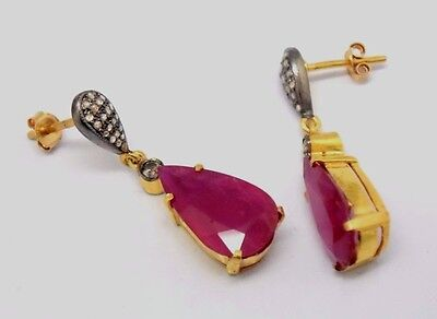 Ruby Drop Brilliant Studs 585 Gold Yellow Gold & Silver