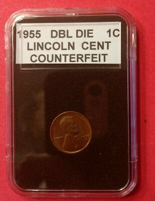 1955 Double Die  Counterfeit Penny 1C Fake Curio Collector Coin Only