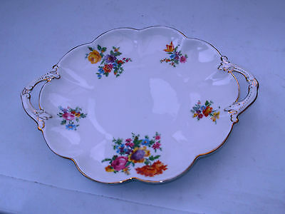 1924 - 51 George Jones Twin - Handled Bread  / Cake Plate Fluted Sides