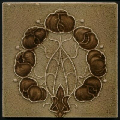 TH3307 Chocolate &  Coffee Art Nouveau Majolica Tile Alfred Meakin c.1905