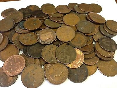 100 x Vintage British Large One Penny, UK copper Pennies Victoria to QEII lot#68