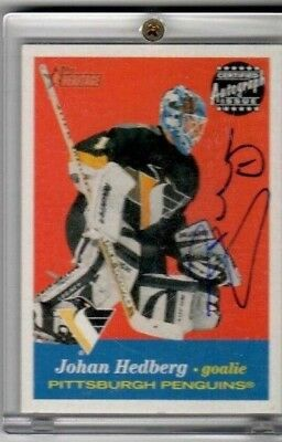 Johan Hedberg 2001 Topps Heritage On Card Autograph #A-JH PENGUINS