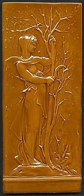 TH3308 Mintons Studio Marc-Louis Solon (Pâte sur Pâte) Majolica Tile Plaque 1909