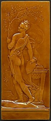 TH3309 Mintons Studio Marc-Louis Solon (Pâte sur Pâte) Majolica Tile Plaque 1909