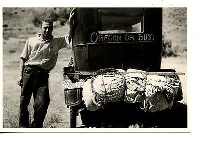 Young Man by Old Car-Automobile-Oregon or Bust-Historic Picture-Modern Postcard
