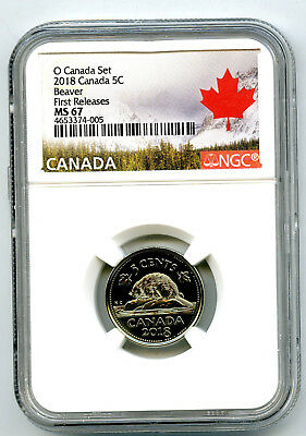 2018 O Canada 5 Cent Nickel Ngc Ms67 First Releases Rare High Grade !
