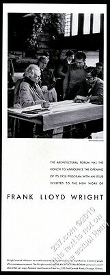 1938 Frank Lloyd Wright photo Architectural Forum vintage print ad