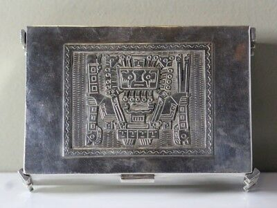 Vintage South American Aztec Style Footed Sterling Silver Desk Box