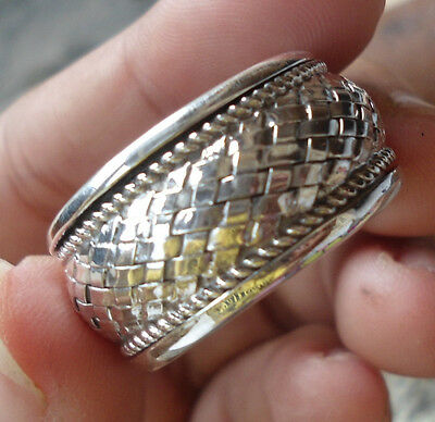 925 Sterling Silver-LH32-Bali Handcrafted Man's Spinner Ring Size 7 1/2
