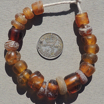 20 old antique dutch amber glass beads senegal mali african trade 1700's #1620