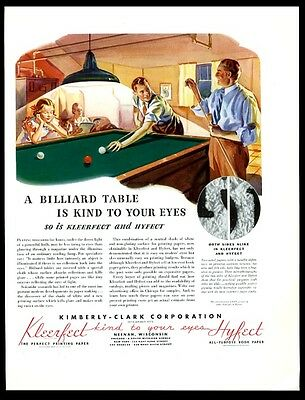 1936 billiards table game art Kimberly-Clark papers vintage print ad