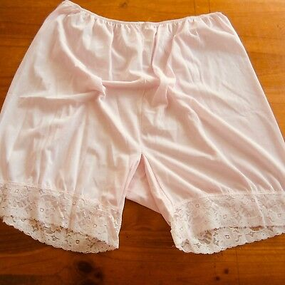 Vintage Sheer Nylon Tricot Nude Granny Pants Panties Lacy Bloomers XL new PINK