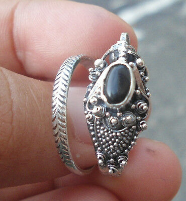 5X 925 Sterling Silver Balinese Dragon Ring Free Size With Black Onyx-RD006