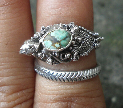 5X 925 Sterling Silver Balinese Dragon Ring Free Size With Turquoise-LH01