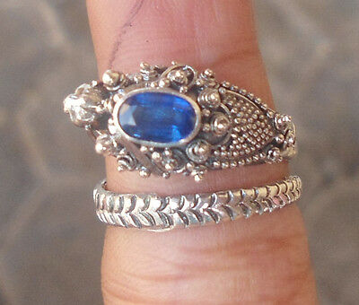 5x 925 Sterling Silver Balinese Dragon Ring Free Size With Blue Sapphire-LH02