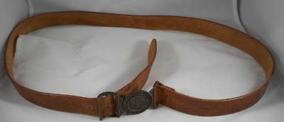 Vintage Boy Scouts of America Tooled Leather Belt W/ 2 Piece Buckle BSA