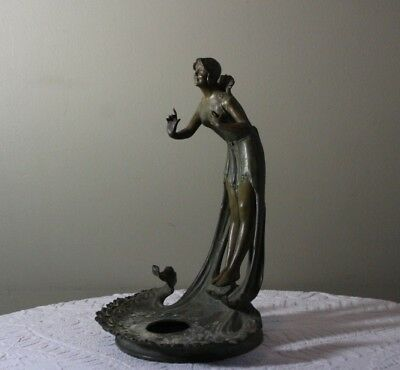 Antique c.1900 Art Nouveau Bronzed Spelter Maiden Woman Ink Stand or Lamp Base