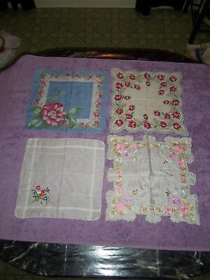 4 Vintage silk handkerchief or scarf or tablecloth centerpiece collectible lot