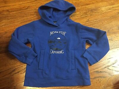 "THE NORTH FACE Boys Blue ""Never Stop Exploring"" Hoodie Sweatshirt - Size XS 6"