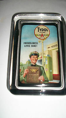 Tydol Flying A Oil Gas Station Man Color Advertising Sign Logo Glass Paperweight