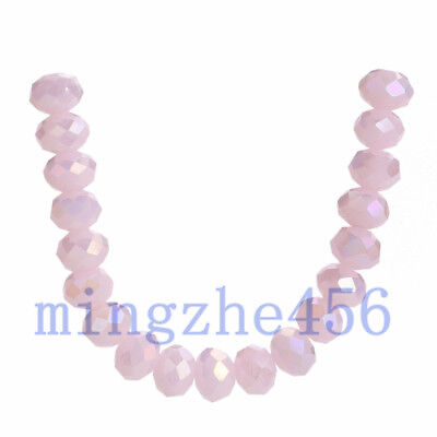 50pcs Pink Faceted Glass Crystal Rondelle Loose Beads DIY Jewelry Finding 6x4mm