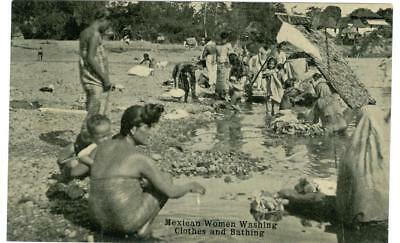 Mexico c.1910 women washing clothes and bathing  H. H. Stratton unused postcard