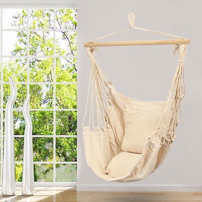 Deluxe Hanging Hammock Chair Swing Garden Outdoor Camping Include Soft Cushion