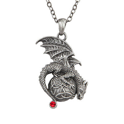 Dragon Perching on Celtic Round Knotwork Necklace Pendant Premium Jewelry