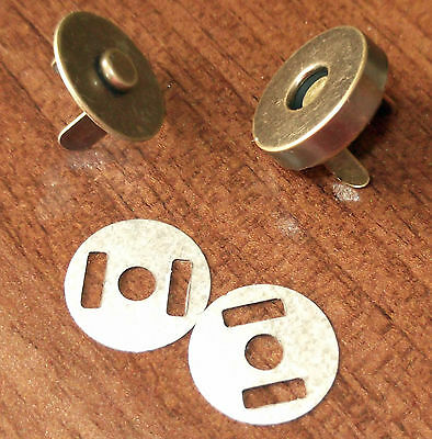 10 Set  Magnetic Bag Clasps Fasteners  14 mm Small ANTIQUE Free P&P UK