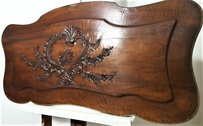 "Hand Carved Wood Panel 44"" Antique French Flower Louis Xv Architectural Salvage"