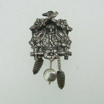 Sterling Silver Detailed Movable German Cuckoo Clock Charm