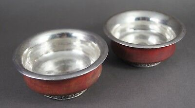 GOOD PR ATTRACTIVE TIBETAN SILVER LINED WOODEN BOWLS Chinese Asian Art