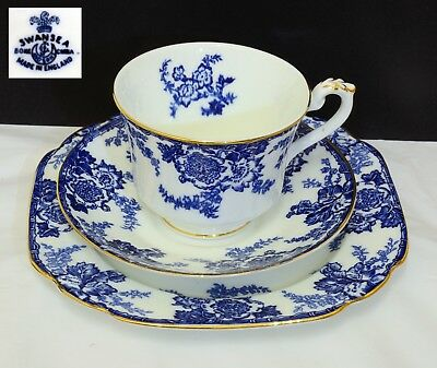 Superb Vintage George Jones & Sons SWANSEA Blue & White China Cup Saucer & Plate