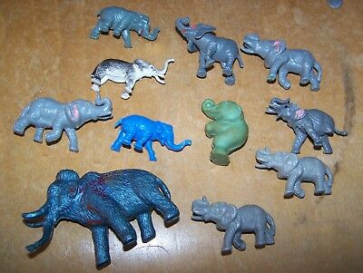 lot of 10 plastic toy elephants