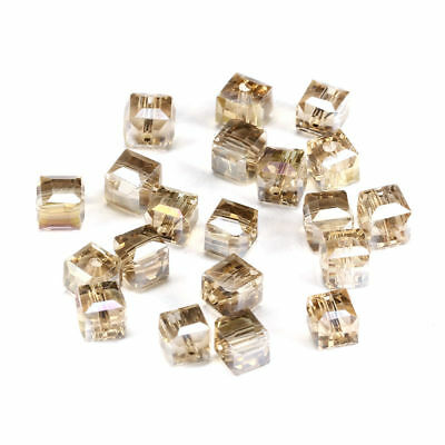 6MM/8MM Crystal bead Faceted Square Cube Glass Loose Spacer Beads,champange AB