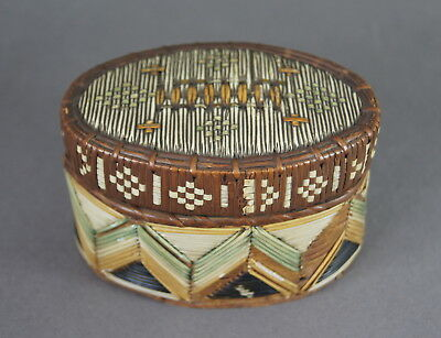 Fine Antique 19Th C Native American Indian Huron Micmac Quill Work Bark Box Nr!