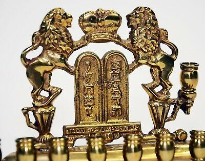 Brass Vintage - Antique Jewish Hanukkah Menorah Lions of Judah Chanukah Hanukkah