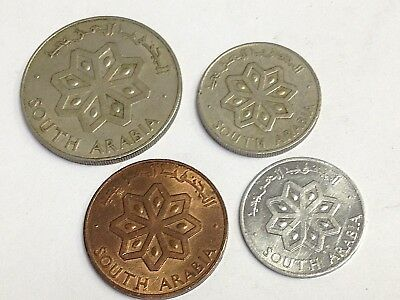 1964 South Arabia 4-coin type set collection (50, 25, 5, 1 fils)