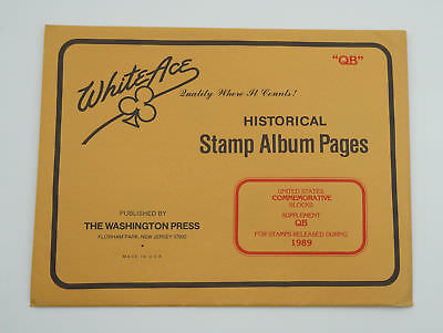 """New White Ace Stamp Album Pages 1987 US Commemorative Blocks Complete """"OB"""""""