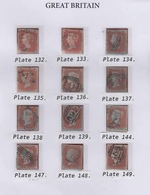 12 x 1841 1d. red-brown, various plates from ALPHABET 2 as illustrated.