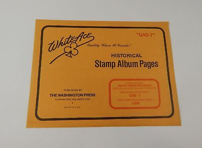 White Ace US Great Americans Series Singles, Blocks or Blocks Stamp Album Pages