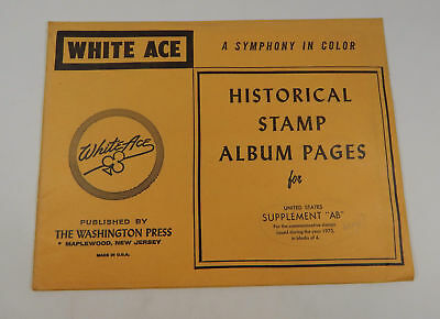 """White Ace United States Supplement """"AB"""" 1973 Stamp Album Pages Blocks of"""