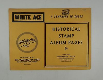 """White Ace United States Supplement """"PB-16"""" 1964 Stamp Album Pages Plate Blocks"""