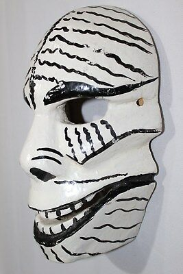 402 SKULL MEXICAN WOODEN MASK calavera hand carved and painted artesania decor