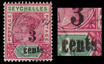 """SEYCHELLES 22i (SG15i) - Queen Victoria """"Sloping w Raised """"t"""" Variety (pa13265)"""